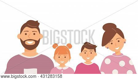 Happy Cute Family Portrait Of Parents And Kids: Father, Mother, Son And Daughter Isolated On The Whi