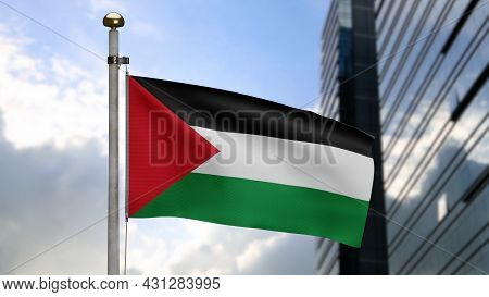 3D, Palestinian Flag Waving On Wind. Palestine Banner Blowing Soft Silk.