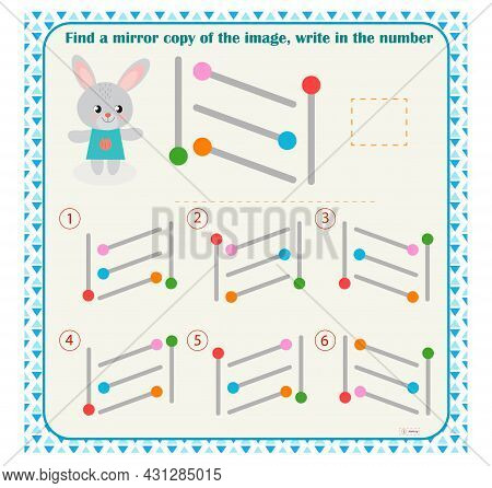 Logic Puzzle Game For Children. Select And Write Down The Number Of The Correct Mirror Image Of The