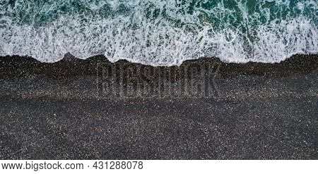 Sea Waves Breaking On Black Sand Beach, Aerial Marine Background