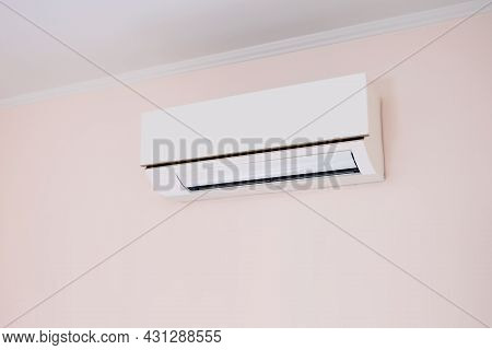 Close Up Air Conditioner Split Type Wall Mounted In Home Room Concepts Of Cool Or Heat Or Air Cleani