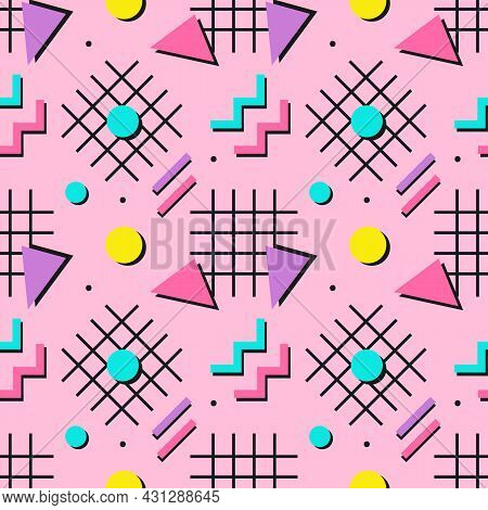 Colorful Chaotic Vector Seamless Pattern Background With Abstract Geometric Shapes, Design Elements
