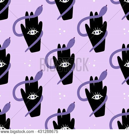 Hand With Eye Symbol Holding Snake And Dots Vector Seamless Pattern Background.
