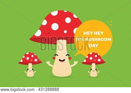 National Mushroom Day Greeting Card, Illustration With Cute Smiling Mushroom Characters With Dotted