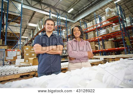 Portrait Of Factory Worker And Manager On Production Line