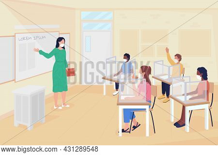 Return To School Lessons After Coronavirus Flat Color Vector Illustration. Infection Prevention Meas