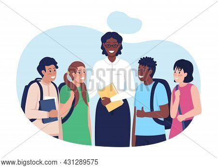 Teacher With Students 2d Vector Isolated Illustration. Happy Schoolchildren Flat Characters On Carto