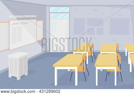 Nobody At School Classroom Flat Color Vector Illustration. Lessons Ban During Covid. Epidemic Rules