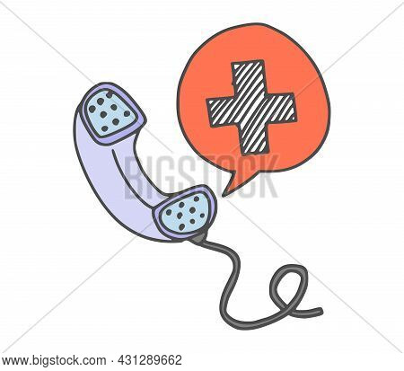 Phone Call To The Doctor. Vector Stock Drawing New
