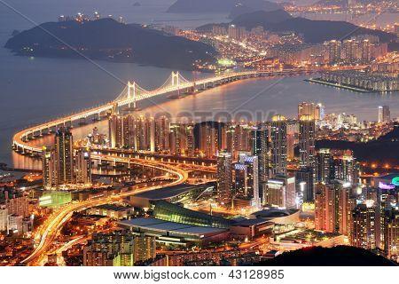 Skyline of Busan, South Korea at night.