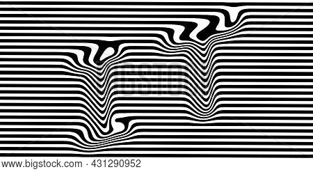 Distorted It Text On A Striped Black And White Background. Eps10 Vector Illustration.