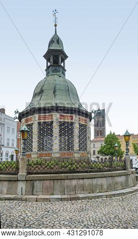 Scenery Around The Market Square In Wismar, A Hanseatic City In Northern Germany