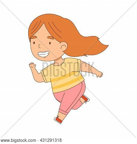 Cheerful Little Redhead Girl Running And Rushing At Full Speed Vector Illustration