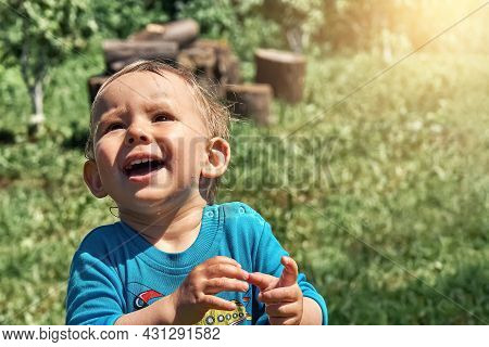 Funny Toddler Stares With Deep Admiration At Flying Bug On Green Field In Yard Of Country House On S