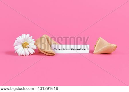 Concept For Positive Thinking With Fortune Cookies With Motivational Text Saying