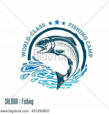 Fishing Logo, Jumping Salmon Fish Illustration