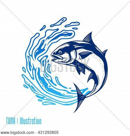 Tuna Fish Illustrations With Water Splashes