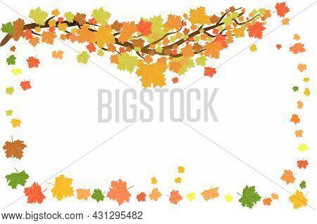 Seasonal Frame Design With Orange Maple Leaves Isolated On White Background. Season Sale Backdrop Wi