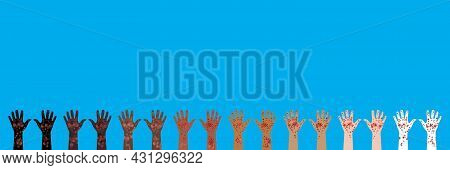 Horizontal Banner. 8 Pairs Of Hands Raised Up. Hands Of Different Races And Skin Colors. Palms Up. P