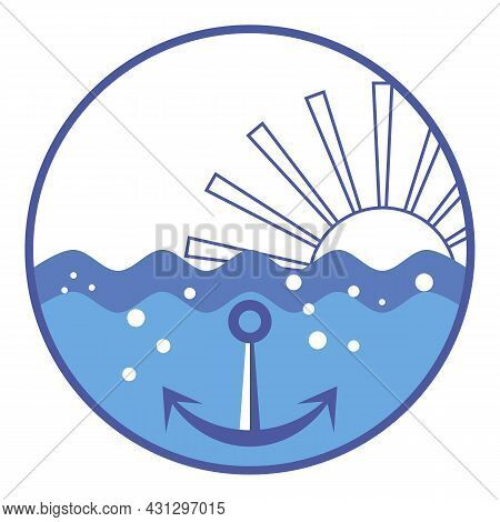 Rising Sun Over Ocean Water Level. Sea Waves, Sun, Anchor. Blue Waves And Sunbeams. Anchor On Seabed
