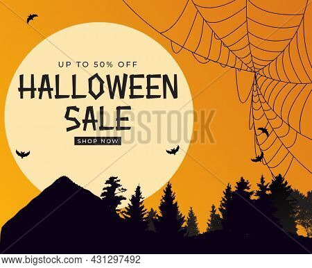 Happy Halloween, Shop Now Poster Template On Orange Background With Bat And Spider. Vector Illustrat