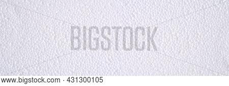 Panoramic Banner Of White Polystyrene Or Styrofoam Texture Background. Styrofoam Board For Backdrop.