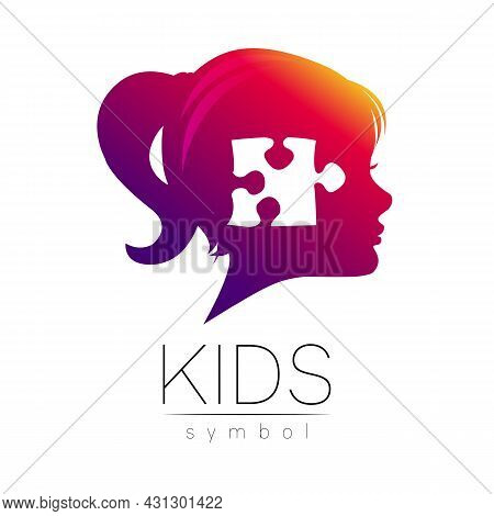 Child Girl Violet Logotype In Vector. Silhouette Profile Human Head. Concept Logo For People, Childr