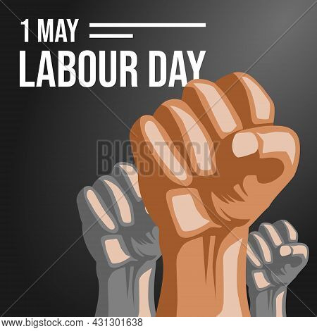1 May Labour Day Vector Illustration With Black Background