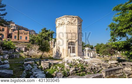 Tower Of Winds Or Aerides In Roman Agora, Athens, Greece. It Is Landmark Of Athens. Panorama Of Anci