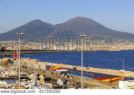 Naples, Italy - June 27, 2021: View Of The Port For Boats And Yachts On The Boulevard In Chiaia, Mol