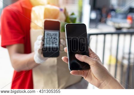 Delivery. Customer Hand Using Digital Mobile Phone Scan Qr Code Paying For Buy Fresh Food Set Bag Fr