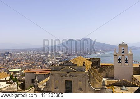 Naples, Italy - June 27, 2021: View Of The City And Certosa Di San Martino From Castel Sant'elmo. Vo