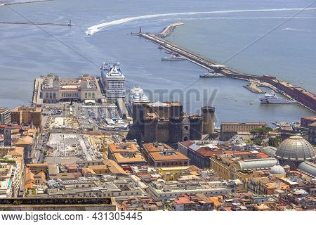 Naples, Italy - June 27, 2021: Aerial View Of The Harbor Coast With The Medieval Castel Nuovo