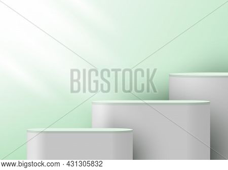 3d Realistic White Pedestal On Green Mint Backdrop For Product Display. Platform In Studio Lighting