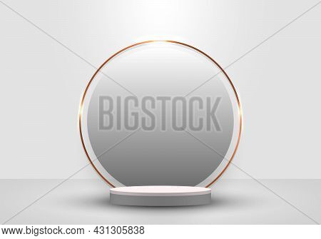 3d Realistic White Cylinder Podium Minimal Scene And Circle And Gold Border Backdrop In Clean Backgr