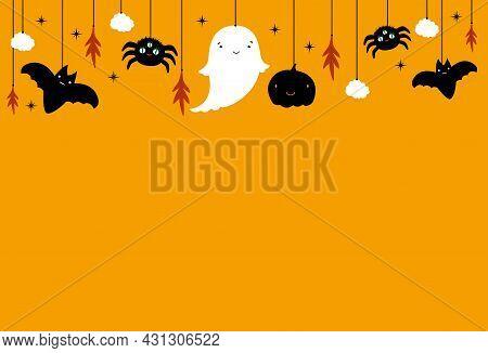 Cute Halloween Banner With Cute Ghost, Spider, Bat On Orange Backgraund. Decoation Holidays Cartoon.