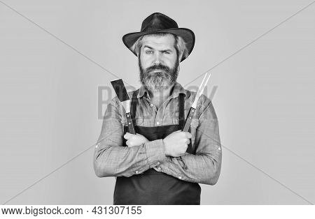 Bbq American Tradition. Culinary Concept. Medium Rare. Bbq Food. Tools Roasting Meat. Man In Apron H