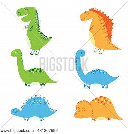 Hand Drawn Vector Illustration Of Set Of Cute Dinosaurs And Elements Like Volcano, Palm Tree, Stone,