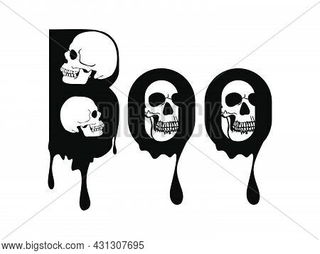 Boo Design With Skull. Halloween Greeting With Skull. Good For Greeting Card Decoration, Poster, And