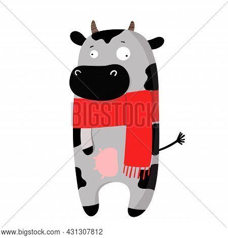 Cute Funny Cow In Autumn Scarf, Vector Clipart, Childrens Funny Illustration With Cartoon Character
