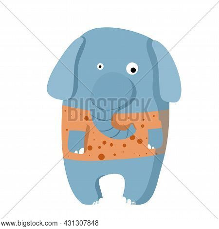Cute Funny Elephant In T-shirt, Vector Clipart, Childrens Funny Illustration With Cartoon Character