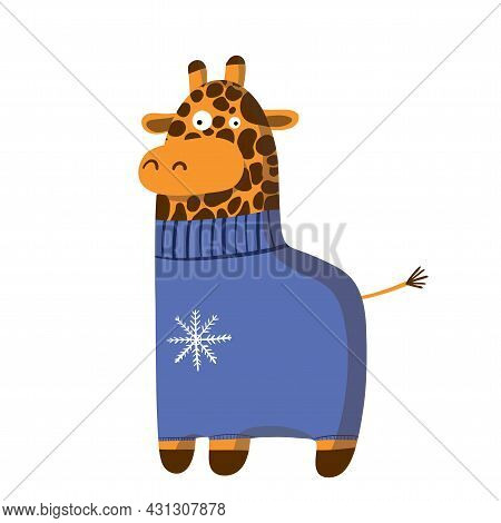 Cute Funny Giraffe In Warm Sweater, Vector Clipart, Childrens Funny Illustration With Cartoon Charac
