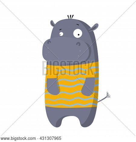 Cute Funny Hippo In T-shirt, Vector Clipart, Childrens Funny Illustration With Cartoon Character