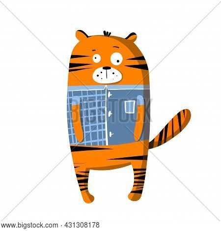 Cute Funny Tiger In T-shirt, Vector Clipart, Childrens Funny Illustration With Cartoon Character