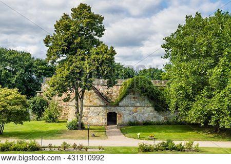 Bad Bentheim, Germany - August 25, 2021: Entrance Of Bentheim Castle In Nordrhine Westfalen In Germa