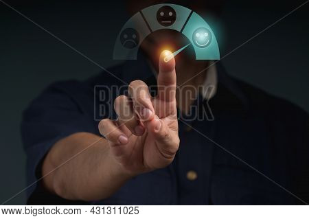 The Businessman Uses Finger Point To Smiling Face Icon For Customer Services Best Excellent Business