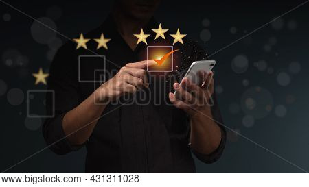 The Businessman Uses Finger Point To Check Box 3 Stars Icon For Customer Services Best Excellent Bus