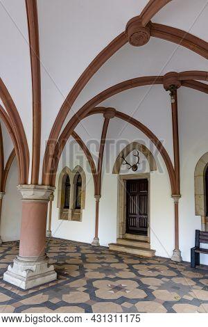 Bad Bentheim, Germany - August 25, 2021: Pillar Gallery Bentheim Castle In Nordrhine Westfalen In Ge