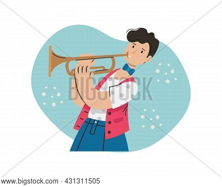 A Man Plays A Melody On A Trumpet. Creative Profession.