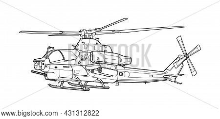 Adult Military Helicopter Coloring Page For Book. Copter And Aircraft. Vector Illustration. Vehicle